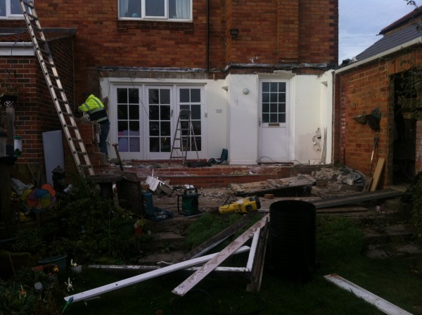 Removing old extension form house in Sunderland