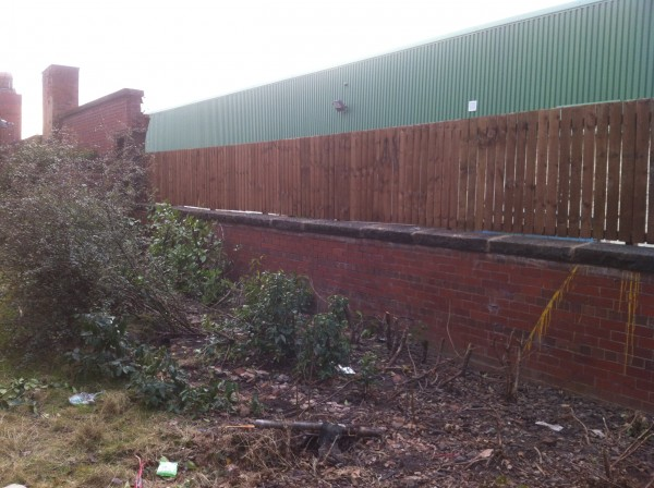 Rebuilt wall with new fence Newcastle